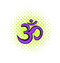 Hindu om symbol icon comics style vector