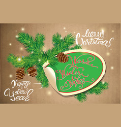 Holiday greeting card with oval paper frame canes vector