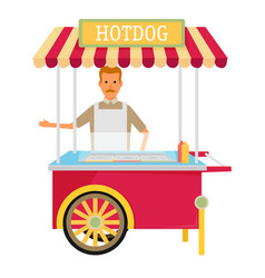 Hot-dog cart with seller vector