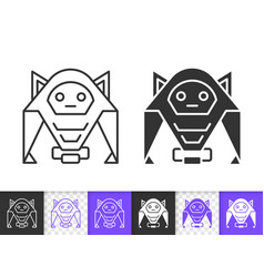 Humanoid simple black line icon vector