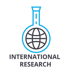 international research thin line icon sign vector image