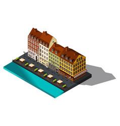 Isometric 3d house by sea restaurant denmark co vector