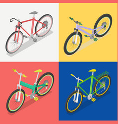 Isometric bicycle set with extreme and road bike vector