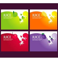 Juice fruit liquid drops splash colorful vector