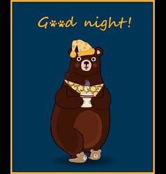 kawaii cartoon bear in slippers and night cap vector image