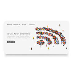 large group people in wi-fi sign shape web vector image