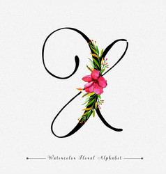 letter x watercolor floral background vector image