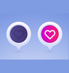 like button in 3d style and two options vector image