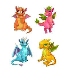 little cute cartoon dragons set colorful fantasy vector image