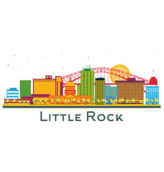 Little rock arkansas city skyline with color vector