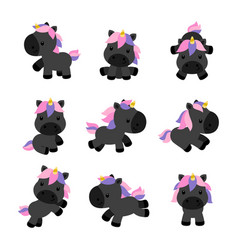 Little unicorns in modern flat style isolated on vector