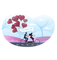 Male and female characters are riding bicycle on vector