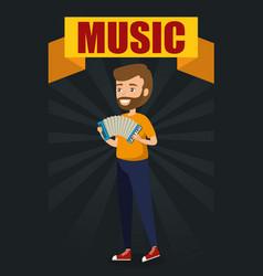 man playing accordion character vector image