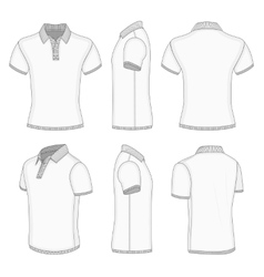 Mens white short sleeve polo shirt vector