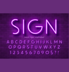 neon light alphabet extra glowing font swatch vector image