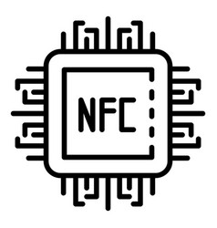 Nfc processor icon outline style vector