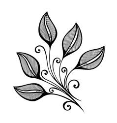 Original Decorative Leaf with Ornament vector