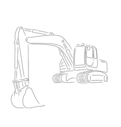 Outline of excavator vector image