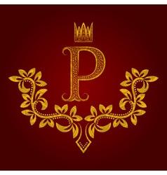 Patterned golden letter P monogram in vintage vector image