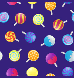realistic detailed 3d lollipops candy seamless vector image