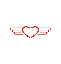 Red heart logo wings shape monogram style medical vector