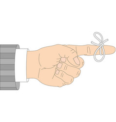 Reminder icon hand with ribbon bow on white vector