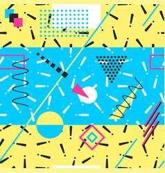 Retro memphis pattern - seamless color background vector