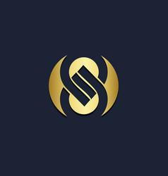 round abstract s monogram circle gold logo vector image