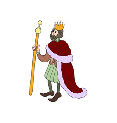 sad medieval king with gold crown and red clothes vector image