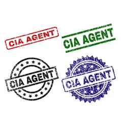 Scratched textured cia agent stamp seals vector