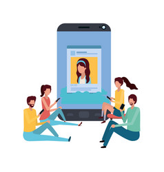 screen with people around avatar character vector image