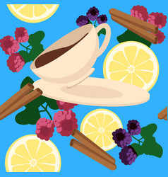 seamless pattern with cup of tea lemon and vector image