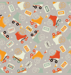 Seamless pattern with roller skates and cassettes vector