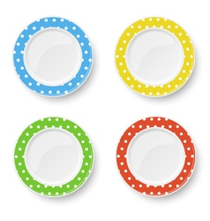 Set of color plates with white polka dot pattern vector