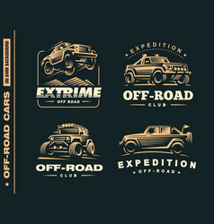 Set of four off-road suv car labels vector