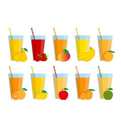 set of fresh fruit juices and cocktails vector image