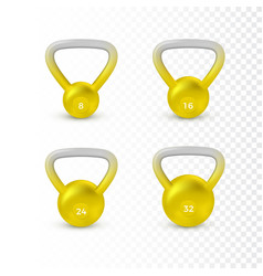 set realistic kettlebell weight different vector image