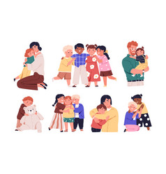 set warm hugs between kids parents and little vector image