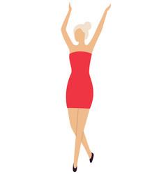 Sexy girl dancer on dance floor in mini red dress vector