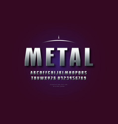 silver colored and metal chrome font vector image