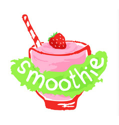 Smoothie sticker in watercolor style vector