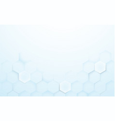 soft blue and white 3d hexagons texture background vector image