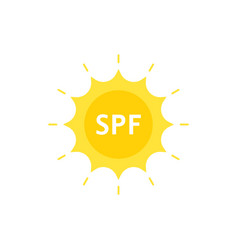 spf like sun protection factor on sun logo vector image