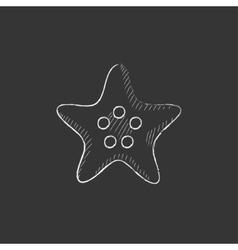 Starfish Drawn in chalk icon vector