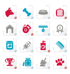 stylized dog and cynology object icons vector image