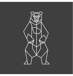 The contour lines of polygons low poly bear vector