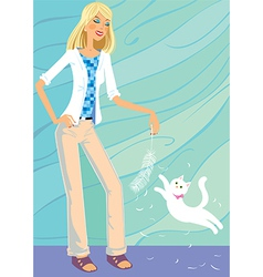 The girl plays with a cat vector image