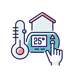 Thermostat setting rgb color icon vector