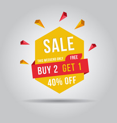 this weekend only buy 2 free get 1 sale banner 40 vector image