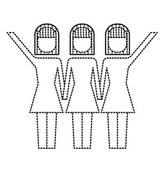 three women holding hands teamwork successful vector image